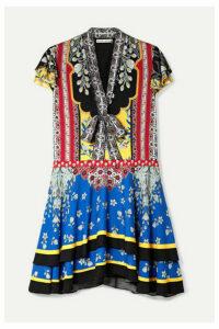 Alice + Olivia - Moore Printed Crepe Mini Dress - Blue