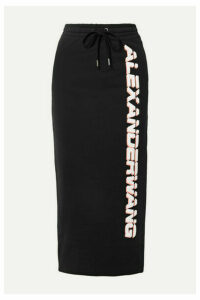 alexanderwang.t - Printed French Cotton-terry Midi Skirt - Black