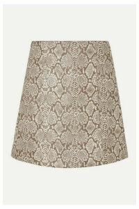 ALEXACHUNG - Snake-effect Faux Leather Mini Skirt - Ecru