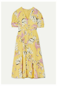 Erdem - Gracelyn Floral-print Crepe Midi Dress - Yellow