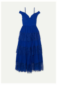 Self-Portrait - Cold-shoulder Tiered Lace-trimmed Pleated Chiffon Maxi Dress - Bright blue