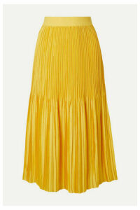 Alice + Olivia - Ken Pleated Satin Midi Skirt - Marigold