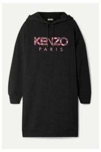 KENZO - Oversized Hooded Appliquéd Cotton-jersey Mini Dress - Black