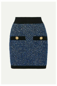 Balmain - Button-embellished Metallic Tweed Mini Skirt - Blue