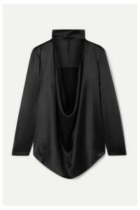 Michael Lo Sordo - Cutout Draped Silk-satin Top - Black