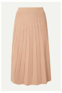 CASASOLA - Pleated Stretch-knit Midi Skirt - Beige