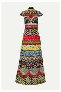 Alice + Olivia - Arwen Open-back Embellished Embroidered Cotton Maxi Dress - US6