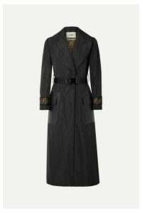 Fendi - Belted Jacquard And Leather-trimmed Gabardine Trench Coat - Black