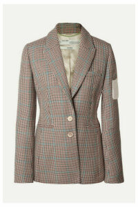 Off-White - Appliquéd Checked Wool Blazer - Brown