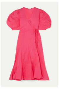 Rhode - Fiona Cotton-poplin Wrap Dress - Fuchsia