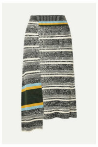 Victoria Beckham - Asymmetric Striped Ribbed Cotton-blend Midi Skirt - Black