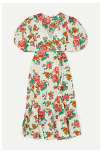 Rhode - Fiona Floral-print Cotton-poplin Wrap Dress - White