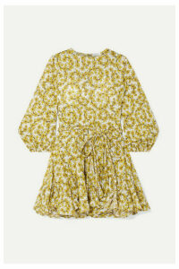 Rhode - Ella Pleated Floral-print Cotton-poplin Mini Dress - Yellow