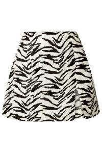 Reformation - Cady Zebra-print Linen Mini Skirt - Ecru