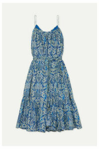 Rhode - Lea Tiered Floral-print Cotton-poplin Mini Dress - Blue