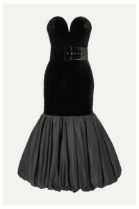 RASARIO - Stapless Velvet And Gathered Duchesse-satin Midi Dress - Black