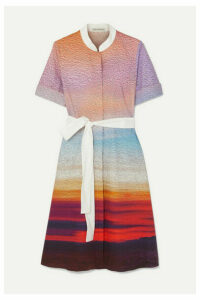 Mary Katrantzou - Cecilia Belted Printed Stretch-cotton Poplin Dress - Pink