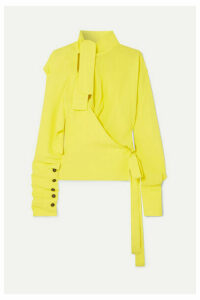 Vivienne Westwood - Mirror Cutout Pussy-bow Crepe De Chine Blouse - Yellow