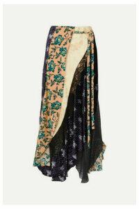 Chloé - Asymmetric Paneled Printed Satin-jacquard, Velvet, Tulle And Crepe Skirt - Beige