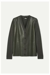 Akris - Leather And Stretch-knit Cardigan - Green