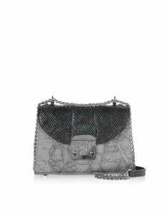 Alviero Martini 1A Classe Designer Handbags, Black Geo Animaliér Crossbody Bag