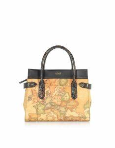 Alviero Martini 1A Classe Designer Handbags, Geo Classic Animalier Coated Canvas and Leather Satchel Bag