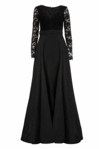Quiz Black Lace Satin Long Sleeve Maxi Dress