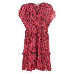 Kenzo Firi Pleated Peonie Midi Dress