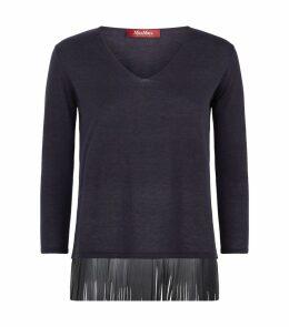 Leather Fringed Sweater