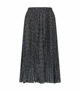 Pleated Logo Midi Skirt