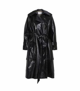 Ambar Faux Patent Leather Trench Coat