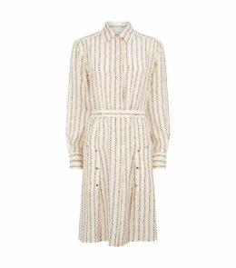 Silk Chain-Print Shirt Dress