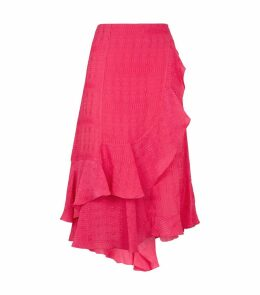 Asymmetric Frill-Hem Midi Skirt