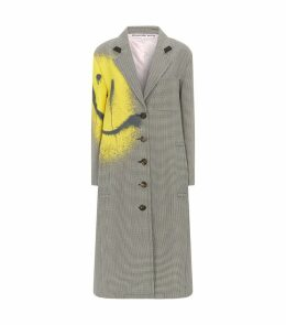 Wool-Blend Check Coat