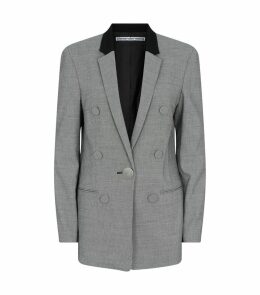 Micro-Houndstooth Leather Sleeve Blazer