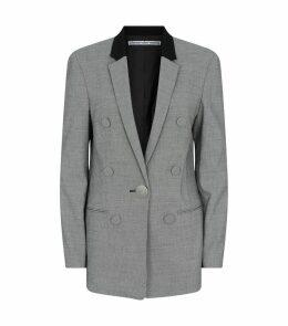 Micro-Houndstooth Leather Sleeve Blazer