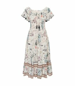 Poetry Print Smocked Dress