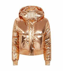 Metallic Cropped Puffer Jacket
