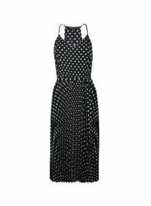 Womens **Black Spot Print Pleated Midi Dress, Black