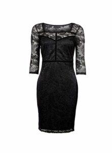 Womens **Black Velvet Trim Pencil Dress- Black, Black