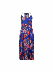 Womens **Multi Colour Floral Print Pleated Midi Dress- Multi Colour, Multi Colour