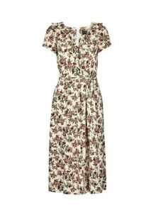 Womens Ivory Floral Print Ruffle Wrap Midi Dress, Ivory