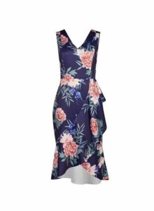Womens **Luxe Navy Floral Print Drape Dress- Blue, Blue