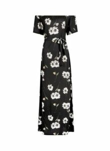 Womens Black Floral Print Maxi Bardot Dress, Black