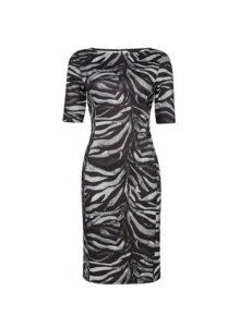 Womens **Multi Colour Zebra Print Pencil Dress- Multi Colour, Multi Colour