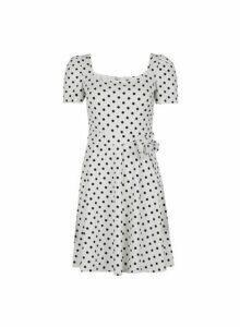 Womens Petite White Spot Print Square Neck Dress- White, White