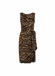 Womens Chocolate Tie Side Zebra Print Pencil Dress- Brown, Brown