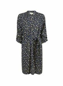 Womens **Billie & Blossom Navy Lemon Print Shirt Dress- Blue, Blue