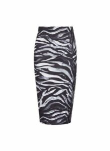 Womens **Charcoal Zebra Print Pencil Skirt- Charcoal, Charcoal