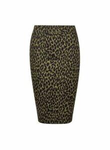 Womens Petite Khaki Leopard Print Pencil Skirt- Green, Green
